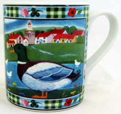 Duck Mug Exclusive Funny & Cute Duck Farm Scene Porcelain Mug Hand Made in UK #RainbowDecorsLtd #ArtDeco