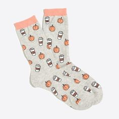 Haha how cute are these socks?? NEED!! Pumpkin and coffee socks from Jcrew!! #aff