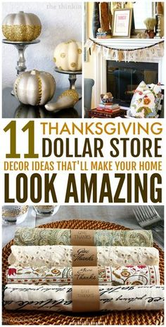 These 11 Dollar Store Thanksgiving Decor Hacks are amazing! These home decor ideas are super easy, budget-friendly and won't consume too much of your time! Now you know great ways to decorate your home on a budget with ease this holiday season! (Click her Thanksgiving Diy, Thanksgiving Centerpieces, Decorating For Thanksgiving, Cheap Thanksgiving Decorations, Easy Decorations, Revere Pewter, Modern Country, Decorating Tips, Decorating Your Home