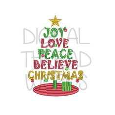 Christmas Tree Words Embroidery Design, Instant Download for 4x4 5x7 and 6x10 inch hoops. Perfect for Christmas Gifts, Decorations by DigitalThreadWorks on Etsy