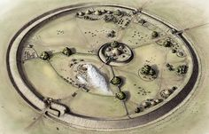 Oppidum - Reconstruction by Sue Walker White of Bloodgate Hill Iron Age Fort, in North Norfolk, UK