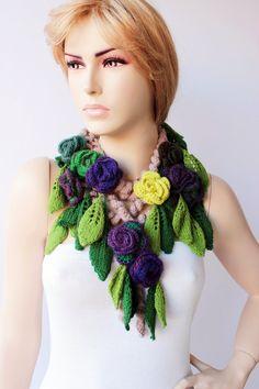 crochet lariat necklace scarf  flower necklace scarf by SenasShop, $45.00