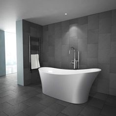 Add designer style to your bathroom with this silver freestanding bathtub