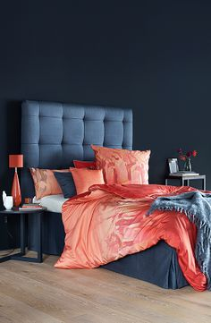 "I LOVE THE CORAL AND NAVY TOGETHER. ESCADA  BED LINEN ""PARROTS"""
