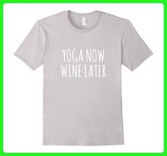 Mens Yoga now wine later Funny Alcohol Cute Fashion Gym T-shirt 3XL Silver - Workout shirts (*Amazon Partner-Link)