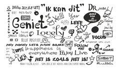 Muursticker Cartoon krabbels Ibiza, Chalk Paint, Hand Lettering, Let It Be, Sayings, Paint Ideas, Lyrics, Handwriting, Calligraphy