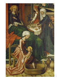 Birth of Mary. Weingartner Altar in the Dome in Augsburg. Detail: the First Bath, 1493 Giclee Print by Hans Holbein the Younger at AllPosters.com