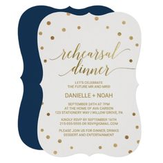 #Gold Polka Dots Rehearsal Dinner Card - #weddinginvitations #wedding #invitations #party #card #cards #invitation #simple