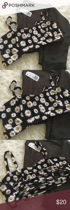 F21 Olive Crop Top Full Tilt Bralette Bundle Great condition, top NWT! Super cute pairing of the daisy bralette and a loose crop top! Bralette is Full Tilt and is size S and crop top is F21 and is size S. Full Tilt Tops Crop Tops