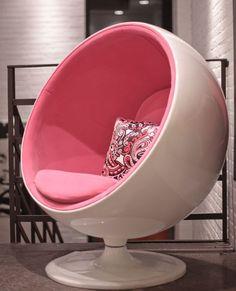 ball, ball chair, chair, pink, white