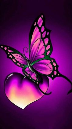 New Butterfly Tattoo Color Purple Ideas Butterfly Painting, Butterfly Wallpaper, Heart Wallpaper, Purple Wallpaper, Butterfly Flowers, Cellphone Wallpaper, Galaxy Wallpaper, Beautiful Butterflies, Wallpaper Backgrounds
