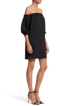 Main Image - Milly Off the Shoulder Stretch Silk Dress