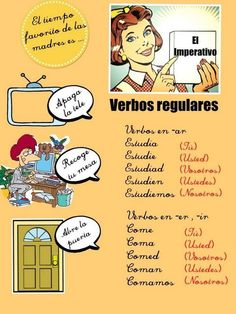 Terminaisons des verbes réguliers de l'impératif