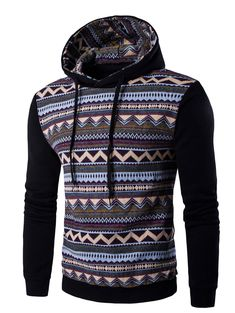 Tribal Print Hooded Long Sleeve Fleece Hoodie #CLICK! #clothing, #shoes, #jewelry, #women, #men, #hats, #watches