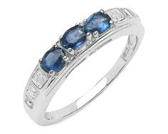 chicmarket.com - 0.66 Carat Genuine Blue sapphire and 0.01 ct.t.w Genuine Diamond Accents Sterling Silver Ring - 6