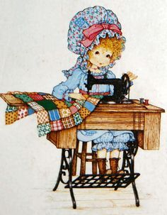 Miss Petticoat Ilustraciones Infantiles. Sewing a Quilt. Holly Hobbie, Images Vintage, Vintage Cards, Dolly Doll, Sewing Art, Cute Illustration, Digital Pattern, Cute Drawings, Vintage Sewing