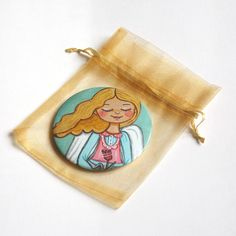 Angel pocket mirror Small hand mirror Compact mirror Little girl makeup mirror Little girl purse mirror favors Little girl birthday gift