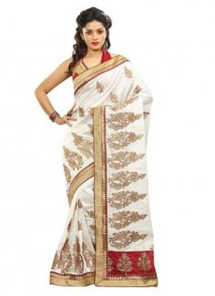 White Bhagalpuri Stone and Butta Work Designer Panetar | CR-586