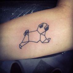 Geometric pug tattoo on inner forearm   Dog tattoo  Tattoos