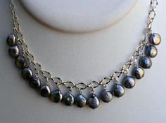 Grey coin pearl necklace from Silver Pansy Designs
