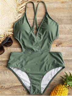 Crisscross Padded Surplice One Piece Swimwear - GREEN S
