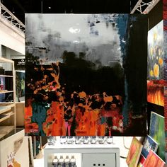 Another beautiful piece at the Pebeo booth at NAMTA 2015 Conte A Paris, Art Supply Stores, Liquitex, Bob Ross, Art Supplies, Fine Art, Canvas, Painting, Beautiful