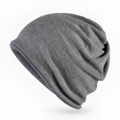 Slouchy Warm Soft Cotton Men's Beanie, Solid Color, Reversible, Cold Weather