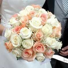Bride's Round Bouquet Featuring: White & Peach Roses + White Gypsophila