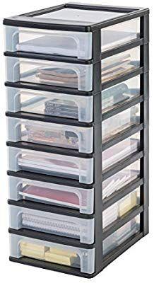 Iris Organizer Chest Och 2080 Schubladencontainer Schrank Kunststoff Schwarz Transparent 35 5 X 26 X 65 5 Cm Amazon De K Kunststoff Schrank Schubladen