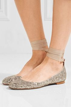 a265b3f33179b9 Tabitha Simmons - Daria lace-up glittered leather ballet flats