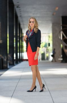 The Classy Cubicle - Coral Love this whole look, the dress, blazer and scarf Orange Dress Outfits, Coral Dress, Navy Dress, Coral Cardigan, Business Dresses, Business Outfits, Classy Cubicle, Vogue, Nyc Fashion