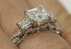 Three Stone Princess Cut Engagement Ring by Verragio (Hand view) | bridesandrings.com
