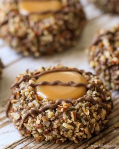 Delicious Turtle Thumbprint Cookies - a chocolate, caramel and nut cookie recipe everyone will love! Caramel Cookies, Chewy Chocolate Chip Cookies, Baking Recipes, Cookie Recipes, Dessert Recipes, Western Food, Gateaux Cake, Caramel Recipes, Thumbprint Cookies