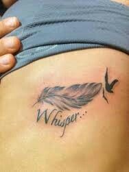 """Love this tat, looking at the same design for mine, smaller birdies tho, and """"Hope"""" #feathertattoos"""
