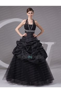 black dress #black #ball #gowns #prom #evening #party #formal #halter #dresses