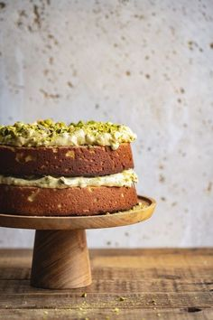 Lemon Ricotta Cake with Toasted Pistachio Frosting - a delicious gluten free cake made even more special with a decadent toasted pistachio frosting Pistachio Nut Cake Recipe, Pistachio Dessert, Pistachio Recipes, Gluten Free Cakes, Gluten Free Desserts, Gluten Free Lemon Cake, Gourmet Desserts, Sweet Recipes, Cake Recipes