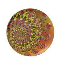 Red Yellow & Orange Bokeh Fractal Pattern Dinner Plates  $28.10
