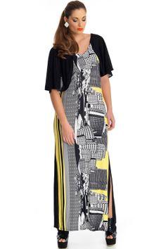 e5fff7307646b6 Pretty Plus Size maxi dress by MAT Fashion. Yellow   black vibrant print  perfect dress for day or night.