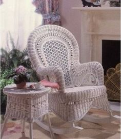 The Country Wicker Rocking Chair - Indoor/Covered Porch is full of swirls, wooden beads, and an intricate wicker weave to add exotic good looks. Wicker Rocker, Wicker Rocking Chair, Wicker Chairs, Wicker Furniture, Cane Chairs, Furniture Repair, Garden Furniture, Furniture Decor, Furniture Design