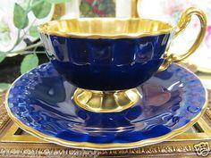 Aynsley Tea Cup and Saucer Gold Bowl Cobalt Blue Design Oban Shape