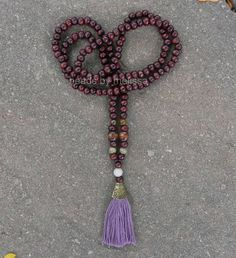 40 wood bead necklace with handmade tassel by BeadsByMelissa