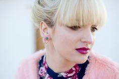 Beaded Diamond-Shaped Stud Earrings