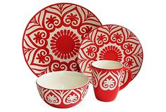 16-Pc Origami Dinnerware Set, Red on OneKingsLane.com