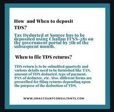 Learn more about Filing TDS Return. Tax Deducted At Source, Tax Deductions, Filing, Learning, Studying, Teaching, Onderwijs