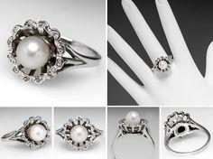 Antique Pearl Rings | Vintage Pearl Ring w/ Diamond Halo 14K White Gold - EraGem