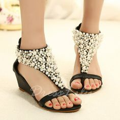 Sweet Faux Pearls and Zipper Design Wedge Sandals For Women