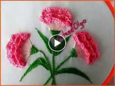 Today you will learn how to stitch carnation flowers (carnations) by hand step by step, in this very easy and simple way with basic embroidery stitches. This idea can be embroidered on your favorite garment and give that special touch of elegance Brazilian Embroidery Stitches, Hand Embroidery Videos, Hand Embroidery Flowers, Embroidery Stitches Tutorial, Simple Embroidery, Embroidery Transfers, Silk Ribbon Embroidery, Hand Embroidery Patterns, Embroidery Kits