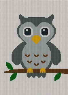 Easy Cute Gray Baby Owl Crochet Knit Cross Stitch Afghan Pattern Graph | chellacrochet - Patterns on ArtFire
