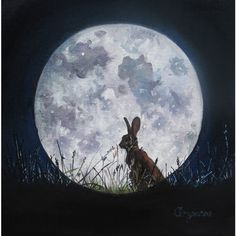 Pre order unmounted moon hare soft textured limited edition giclee art... ($21) ❤ liked on Polyvore featuring home, home decor, wall art, textured wall art, bunny home decor, moon wall art, moon home decor and rabbit home decor