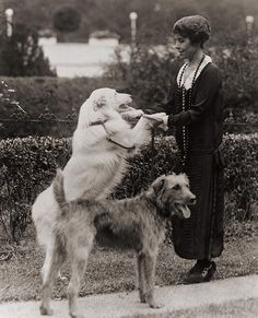 1924 - First Lady Grace Coolidge with two dogs